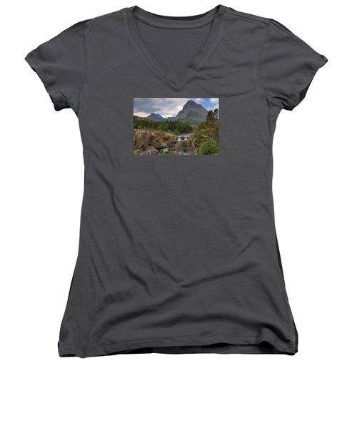 Glacier National Park Landscape Women's V-Neck T-Shirt (Junior Cut) by Alan Toepfer