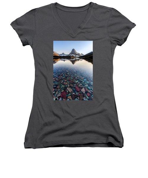 Glacier Skittles Women's V-Neck T-Shirt (Junior Cut) by Aaron Aldrich