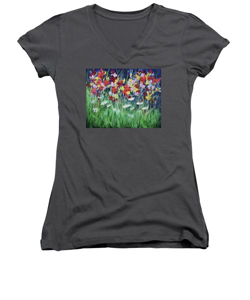 Glad All Over Women's V-Neck T-Shirt (Junior Cut) by Lee Beuther