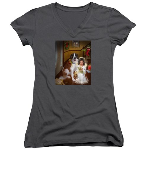 Women's V-Neck T-Shirt (Junior Cut) featuring the digital art Glad Tidings by Doug Kreuger