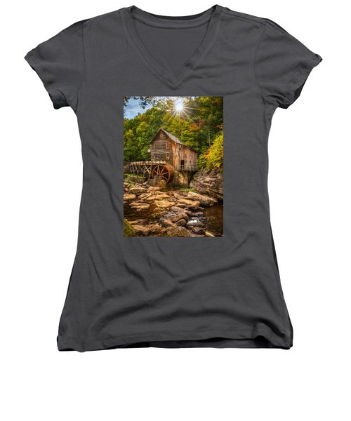 Women's V-Neck T-Shirt (Junior Cut) featuring the photograph Glade Creek Mill Fall by Rebecca Hiatt