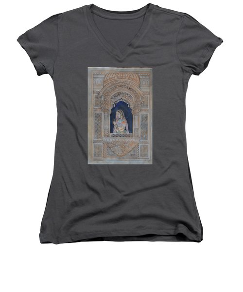 Glancing From Her Window Women's V-Neck T-Shirt (Junior Cut) by Vikram Singh