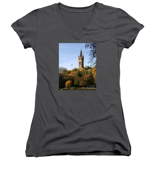 Glasgow University Women's V-Neck T-Shirt (Junior Cut) by Liz Leyden