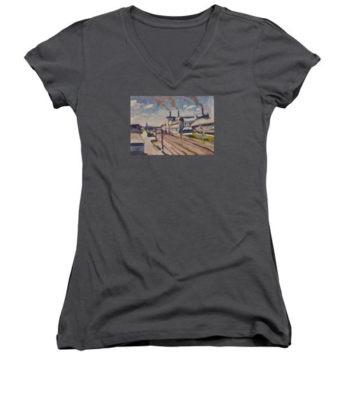 Women's V-Neck T-Shirt (Junior Cut) featuring the painting Glass Factory Along The Railway Track by Nop Briex