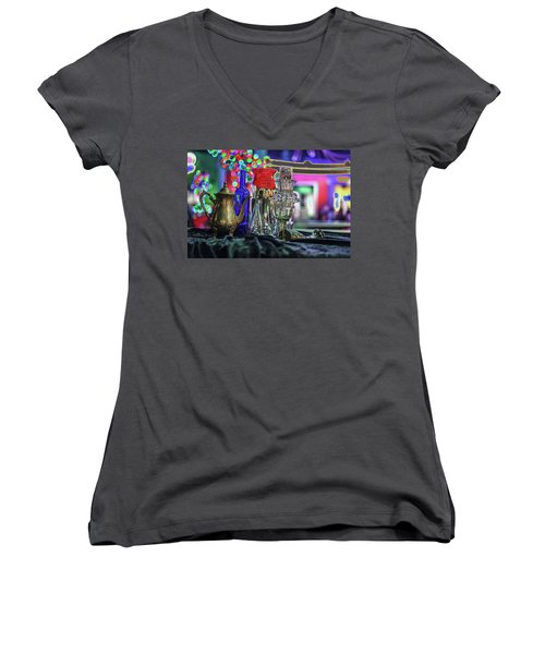 Glass In The Frame Of Colorful Hearts Women's V-Neck (Athletic Fit)