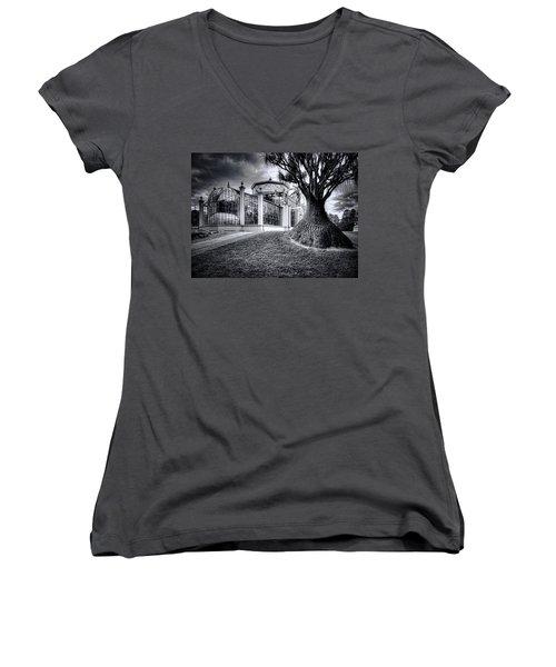 Glasshouse And Tree Women's V-Neck T-Shirt (Junior Cut) by Wayne Sherriff