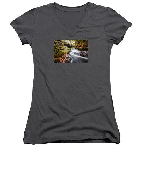 Women's V-Neck T-Shirt (Junior Cut) featuring the photograph Gleason Falls by Robert Clifford