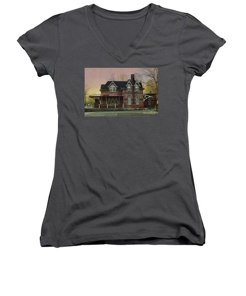 Women's V-Neck T-Shirt (Junior Cut) featuring the photograph Glen Mill Train Station by Judy Wolinsky