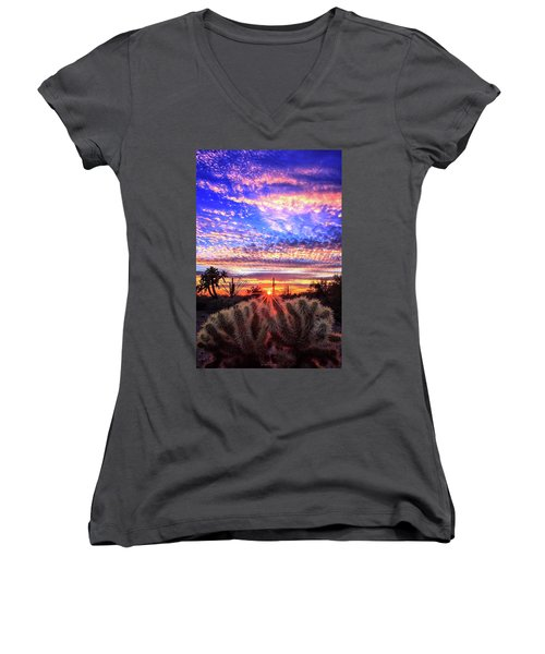 Glimmering Skies Women's V-Neck T-Shirt (Junior Cut) by Rick Furmanek
