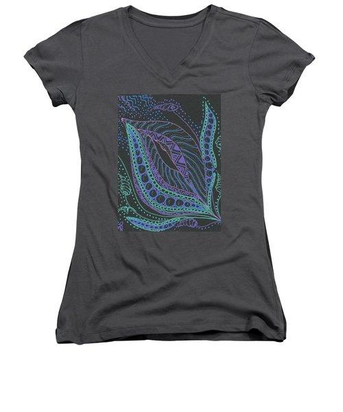 Glitter Flower Women's V-Neck T-Shirt (Junior Cut) by Jan Steinle