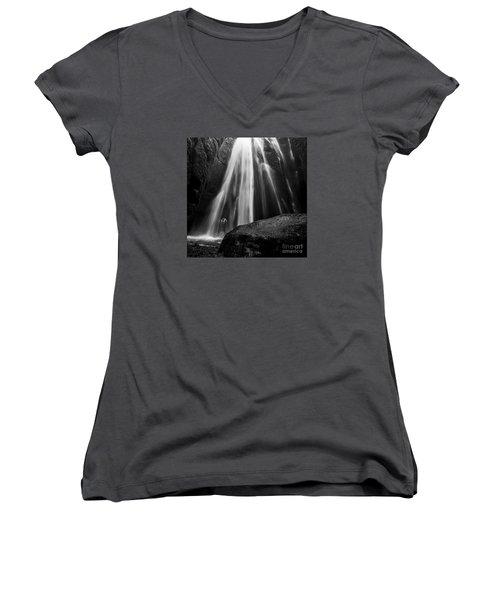 Gljufrabui Iceland Women's V-Neck T-Shirt (Junior Cut) by Gunnar Orn Arnason