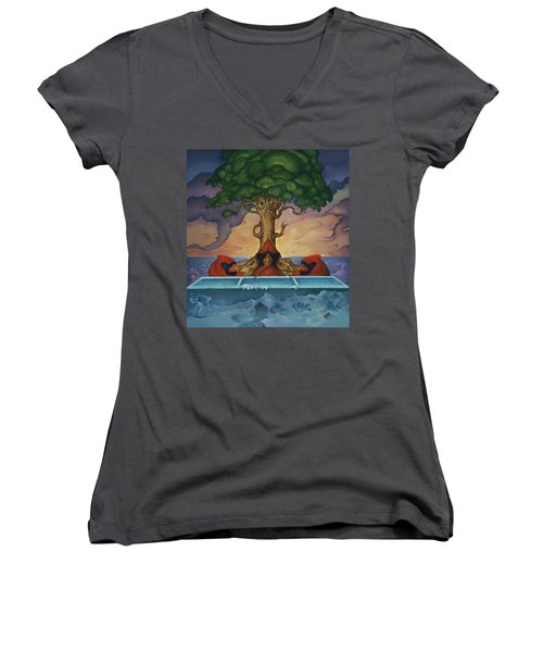 Women's V-Neck T-Shirt (Junior Cut) featuring the painting Global Warming And The Ridiculousness Of Discussing The Next Ice Age by Andrew Batcheller