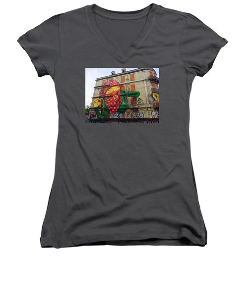 Women's V-Neck T-Shirt (Junior Cut) featuring the painting Globe Building Art Painting by Sheila Mcdonald