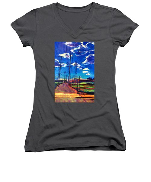 Glorious Afternoon Women's V-Neck T-Shirt (Junior Cut) by Bonnie Lambert