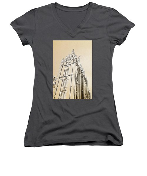 Women's V-Neck T-Shirt (Junior Cut) featuring the drawing Glory And Majesty by Greg Collins