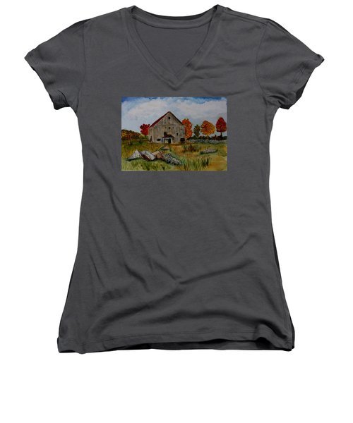 Women's V-Neck T-Shirt (Junior Cut) featuring the painting Glover Barn In Autumn by Donna Walsh
