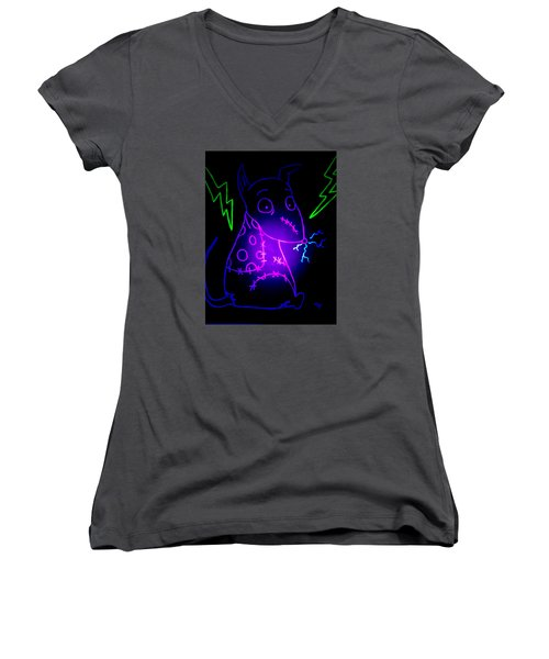 Glow Frankenweenie Sparky Women's V-Neck (Athletic Fit)