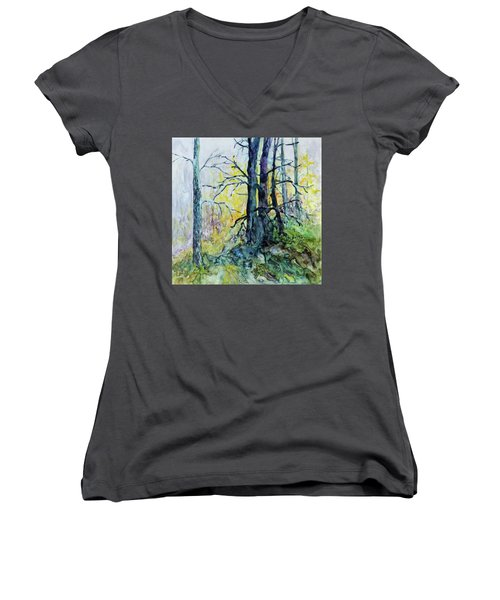 Women's V-Neck T-Shirt (Junior Cut) featuring the painting Glow From The Tamarack by Joanne Smoley