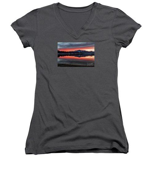 Glow Women's V-Neck T-Shirt (Junior Cut) by Mitch Shindelbower