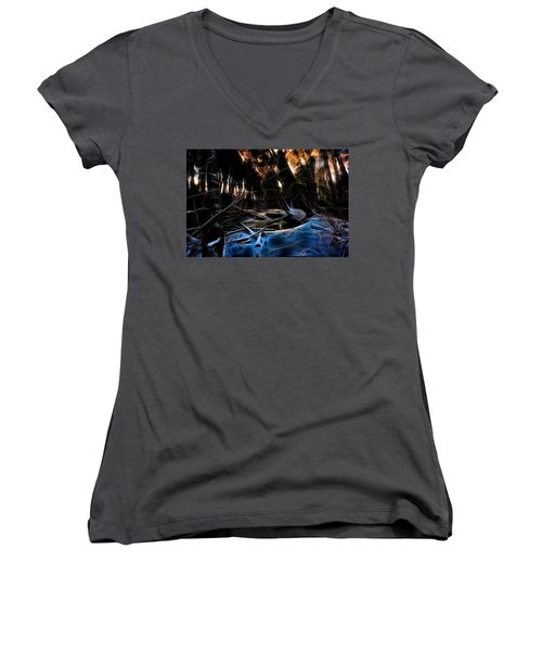 Women's V-Neck T-Shirt (Junior Cut) featuring the photograph Glow River by Michaela Preston