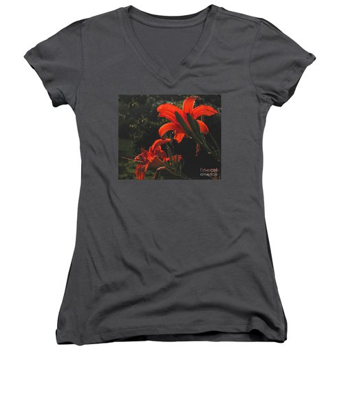 Women's V-Neck T-Shirt (Junior Cut) featuring the photograph Glowing Day Lilies by Donna Brown