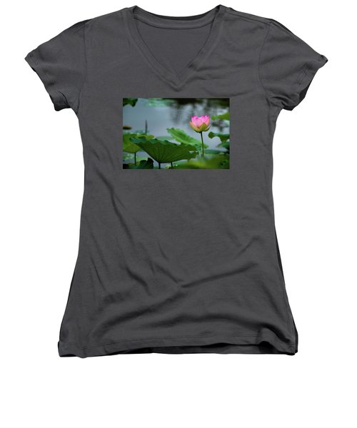 Glowing Lotus Lily Women's V-Neck