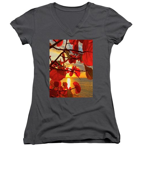 Glowing Red Women's V-Neck (Athletic Fit)