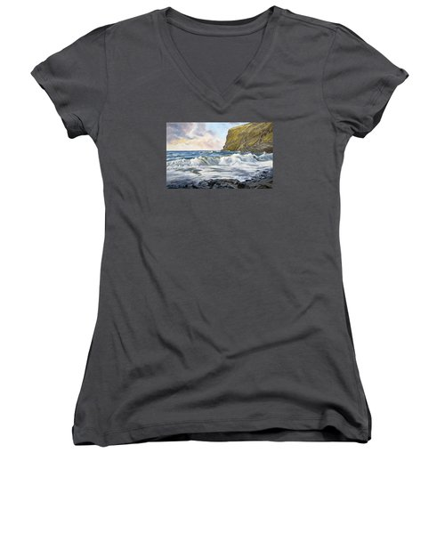 Glowing Sky At Pencannow Point Women's V-Neck (Athletic Fit)