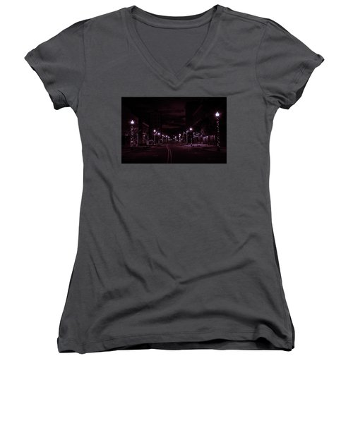 Glowing Streets Downtown Women's V-Neck (Athletic Fit)