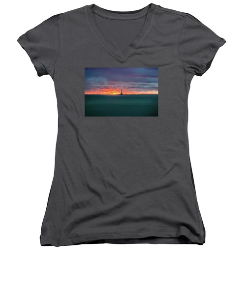 Glowing Sunset On Lake With Lighthouse Women's V-Neck