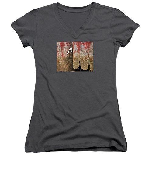 Goat And Old Barn Door Women's V-Neck T-Shirt (Junior Cut) by Susan Leggett