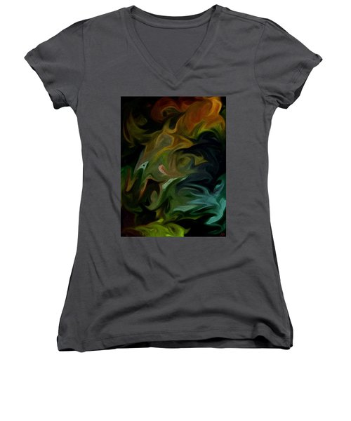 Goblinz Abstract Women's V-Neck T-Shirt (Junior Cut) by Sheila Mcdonald