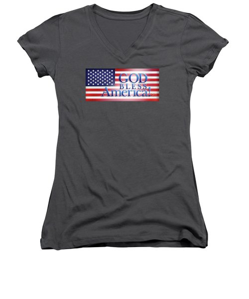 Women's V-Neck T-Shirt (Junior Cut) featuring the mixed media God Bless America by Shevon Johnson