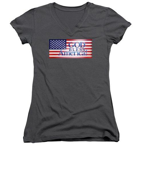 God Bless America Women's V-Neck