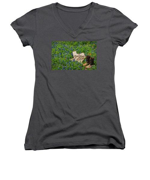God Bless Texas II Women's V-Neck T-Shirt (Junior Cut) by John Roberts