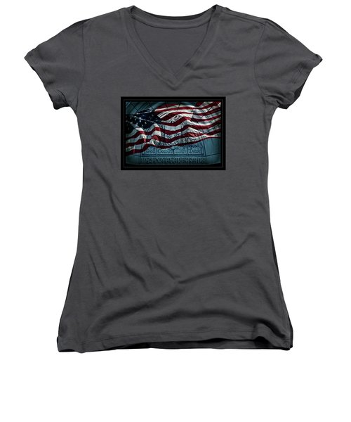 God Country Notre Dame American Flag Women's V-Neck T-Shirt