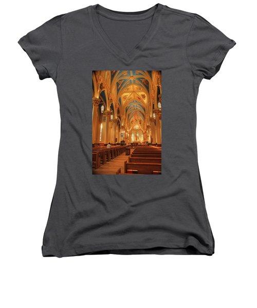 God Do You Hear Me Women's V-Neck T-Shirt (Junior Cut) by Ken Smith
