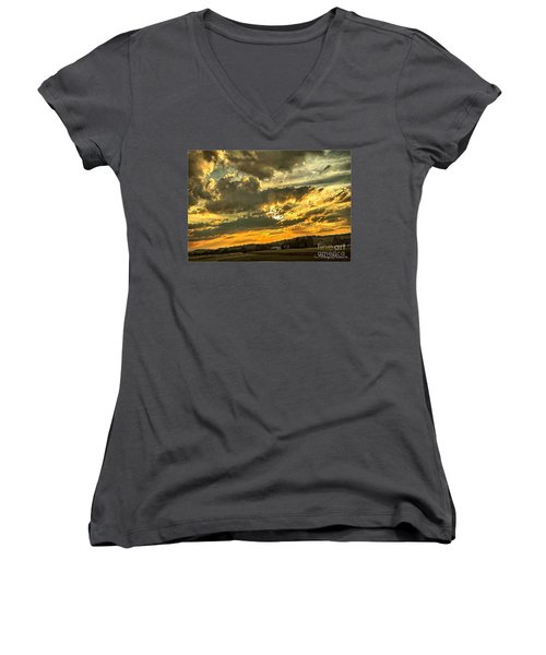 God Hand Women's V-Neck T-Shirt (Junior Cut) by MaryLee Parker