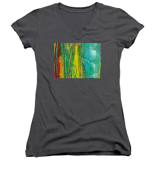 God Has Moved  Into The Neigborhood Women's V-Neck T-Shirt (Junior Cut) by Dan Whittemore