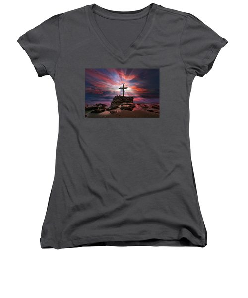 Women's V-Neck T-Shirt (Junior Cut) featuring the photograph God Is My Rock Special Edition Fine Art by Justin Kelefas