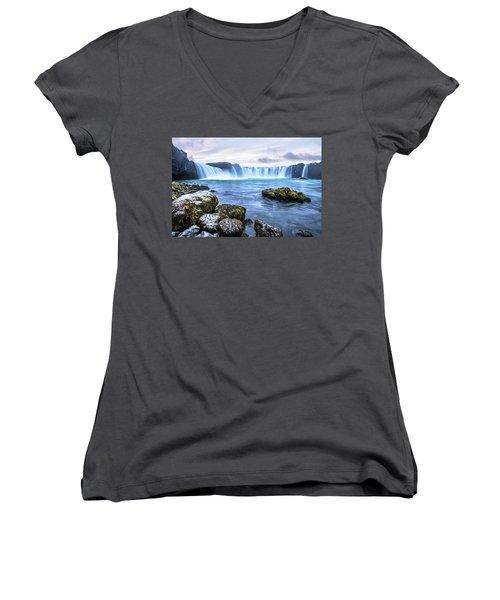 Godafoss Waterfall In Iceland Women's V-Neck T-Shirt (Junior Cut) by Joe Belanger