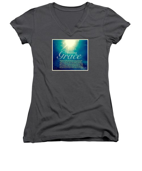 God's Amazing Gift Of Grace Women's V-Neck (Athletic Fit)