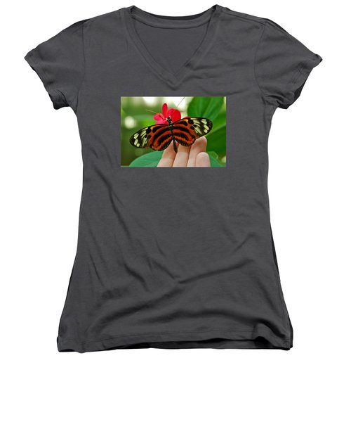 Women's V-Neck T-Shirt (Junior Cut) featuring the photograph God's Handiwork by Debbie Karnes