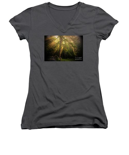 God's Light 2 Women's V-Neck T-Shirt (Junior Cut) by Geraldine DeBoer