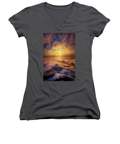Women's V-Neck T-Shirt (Junior Cut) featuring the photograph Gods Natural Cure by Phil Koch