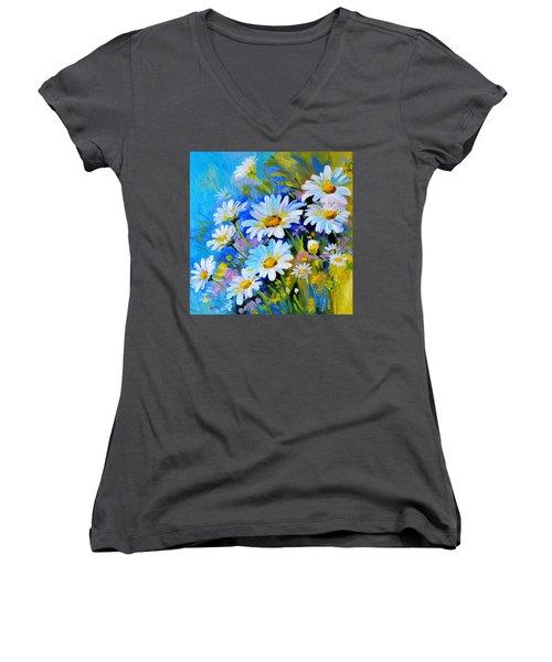 Women's V-Neck T-Shirt (Junior Cut) featuring the digital art God's Touch by Karen Showell