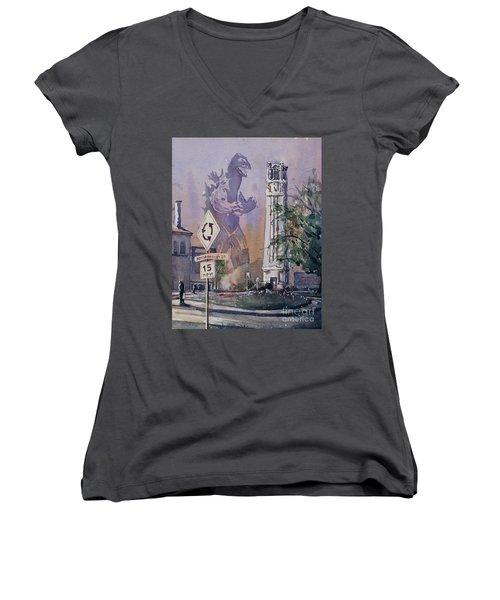 Women's V-Neck T-Shirt (Junior Cut) featuring the painting Godzilla Smash Ncsu- Raleigh by Ryan Fox
