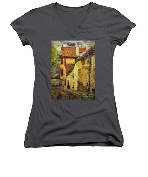 Going Downhill And Round The Bend Women's V-Neck