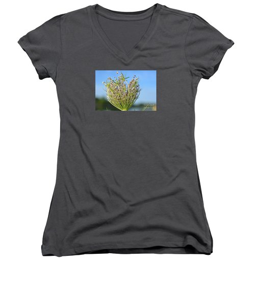 Women's V-Neck T-Shirt (Junior Cut) featuring the photograph Going To Seed by Lila Fisher-Wenzel