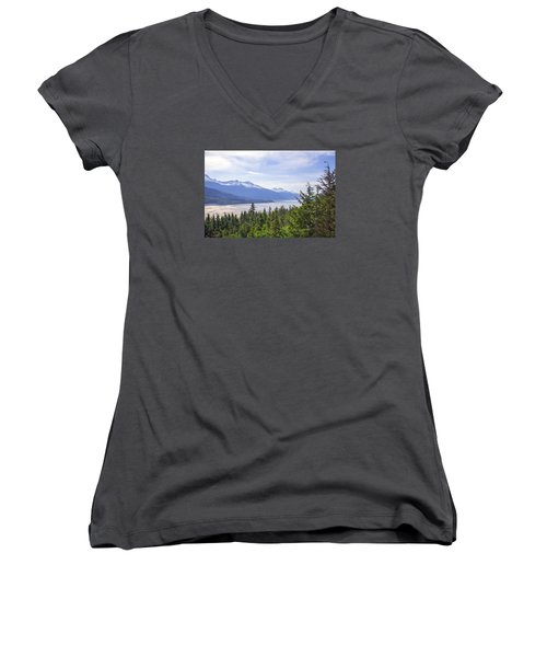 Going Up The Mountain Women's V-Neck T-Shirt (Junior Cut) by Allan Levin